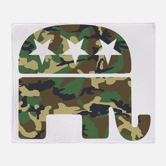 Republican Camo Elephant.png Throw Blanket