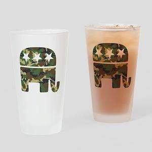 Republican Camo Elephant Drinking Glass