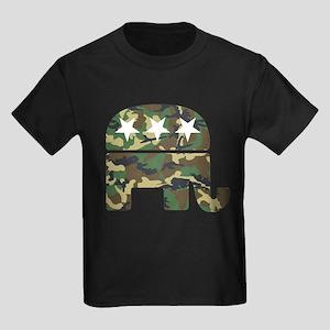 Republican Camo Elephant Kids Dark T-Shirt