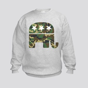 Republican Camo Elephant Kids Sweatshirt