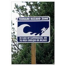 Tsunami warning sign Poster