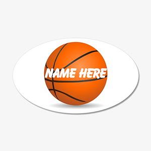 Customizable Basketball Ball 20x12 Oval Wall Decal