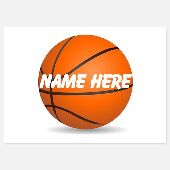 Customizable Basketball 5x7 Flat Invitation Cards