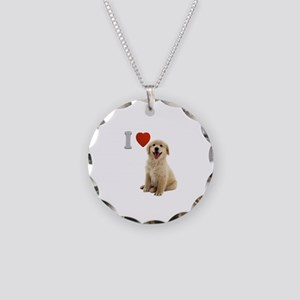 I Love Golden Retriever Puppy Necklace Circle Char
