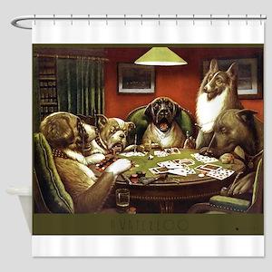 Waterloo Dog Poker Shower Curtain