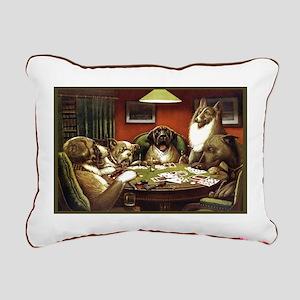 Waterloo Dog Poker Rectangular Canvas Pillow