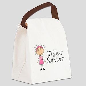 10 Year Survivor Breast Cancer Canvas Lunch Bag