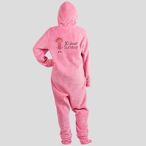 10 Year Survivor Breast Cancer Footed Pajamas