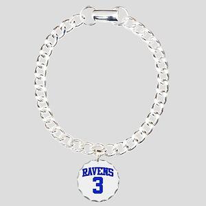Ravens 3 Charm Bracelet, One Charm