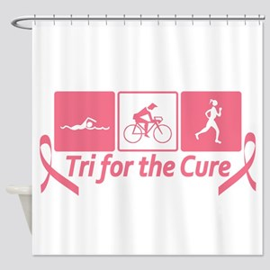 Tri For The Cure (Breast Cancer) Shower Curtain