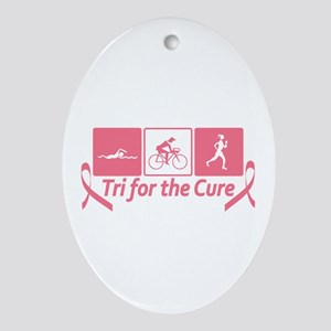 Tri For The Cure (Breast Cancer) Ornament (Oval)