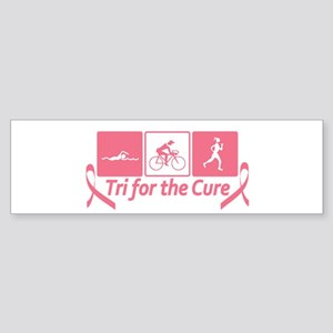 Tri For The Cure (Breast Cancer) Sticker (Bumper)