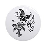 Black and White Tribal Butterfly Ornament (Round)