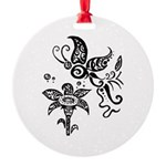 Black and White Tribal Butterfly Round Ornament