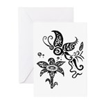 Black and White Tribal Butterfly Greeting Cards (P