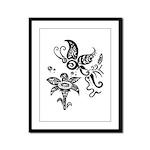 Black and White Tribal Butterfly Framed Panel Prin