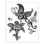 Black and White Tribal Butterfly Small Poster