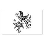Black and White Tribal Butterfly Sticker (Rectangl