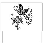 Black and White Tribal Butterfly Yard Sign