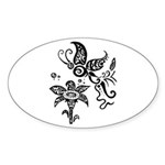 Black and White Tribal Butterfly Sticker (Oval)