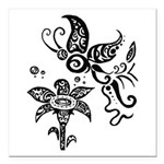 Black and White Tribal Butterfly Square Car Magnet