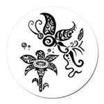 Black and White Tribal Butterfly Round Car Magnet