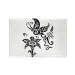 Black and White Tribal Butterfly Rectangle Magnet