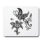 Black and White Tribal Butterfly Mousepad