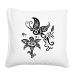 Black and White Tribal Butterfly Square Canvas Pil