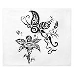 Black and White Tribal Butterfly King Duvet
