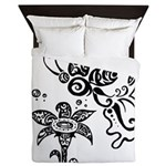 Black and White Tribal Butterfly Queen Duvet