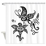 Black and White Tribal Butterfly Shower Curtain