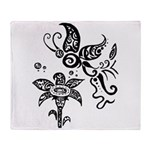 Black and White Tribal Butterfly Throw Blanket