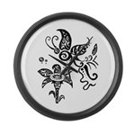 Black and White Tribal Butterfly Large Wall Clock