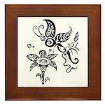 Black and White Tribal Butterfly Framed Tile