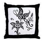 Black and White Tribal Butterfly Throw Pillow