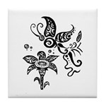 Black and White Tribal Butterfly Tile Coaster