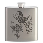 Black and White Tribal Butterfly Flask