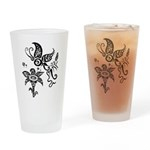 Black and White Tribal Butterfly Drinking Glass