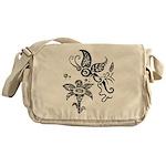Black and White Tribal Butterfly Messenger Bag