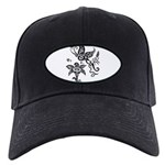 Black and White Tribal Butterfly Black Cap