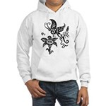 Black and White Tribal Butterfly Hooded Sweatshirt