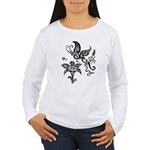 Black and White Tribal Butterfly Women's Long Slee