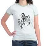 Black and White Tribal Butterfly Jr. Ringer T-Shir