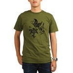 Black and White Tribal Butterfly Organic Men's T-S