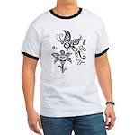 Black and White Tribal Butterfly Ringer T