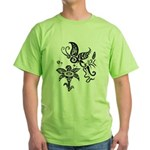 Black and White Tribal Butterfly Green T-Shirt