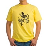 Black and White Tribal Butterfly Yellow T-Shirt