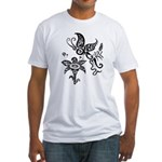 Black and White Tribal Butterfly Fitted T-Shirt