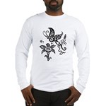 Black and White Tribal Butterfly Long Sleeve T-Shi